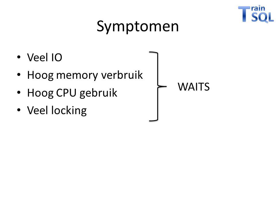Symptomen Veel IO Hoog memory verbruik Hoog CPU gebruik Veel locking
