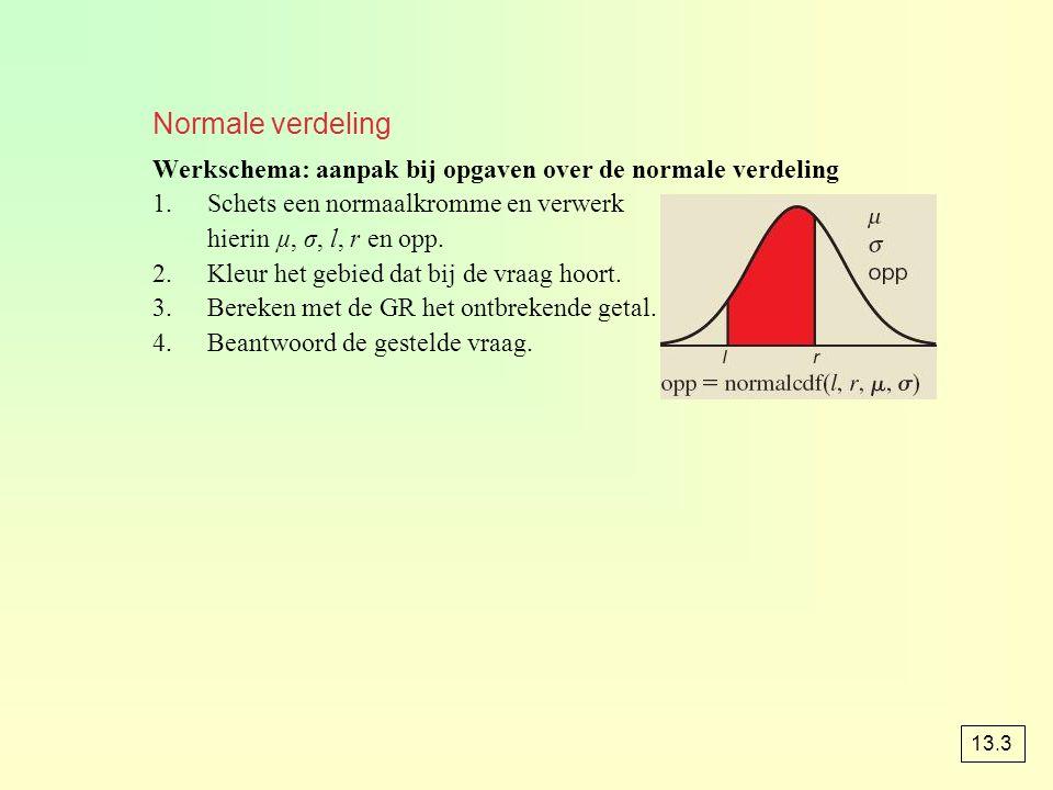 Normale verdeling Werkschema: aanpak bij opgaven over de normale verdeling. Schets een normaalkromme en verwerk.