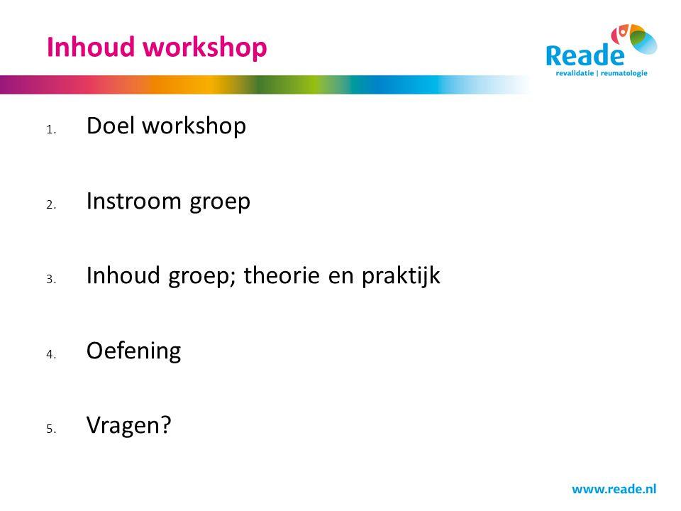 Doel workshop Inzicht in mogelijkheden van groepsbehandeling