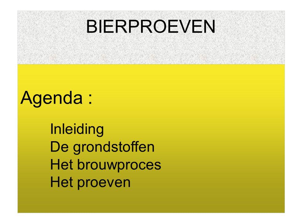 BIERPROEVEN Agenda : Inleiding De grondstoffen Het brouwproces
