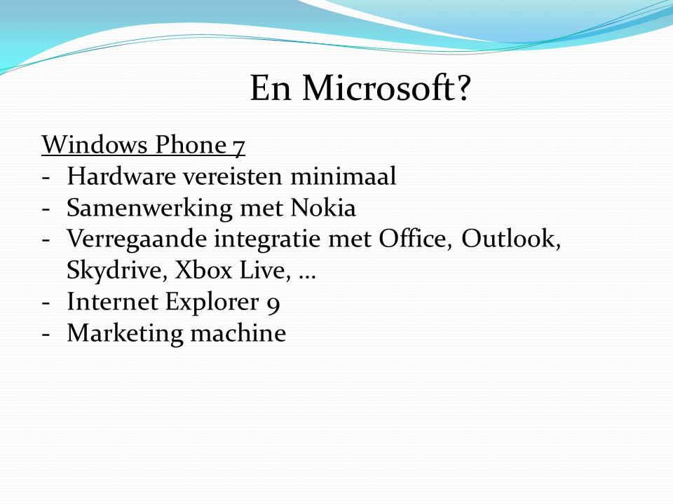 En Microsoft Windows Phone 7 Hardware vereisten minimaal