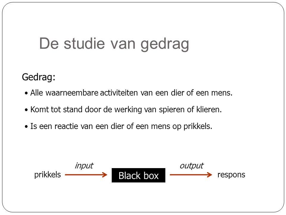 De studie van gedrag Gedrag: Black box