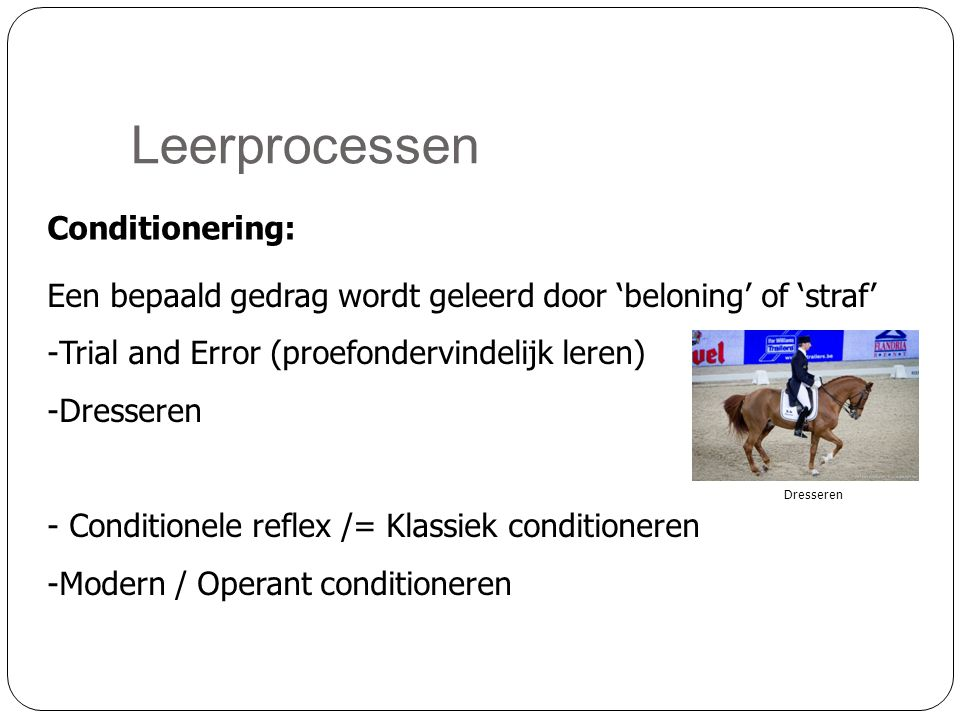 Leerprocessen Conditionering: