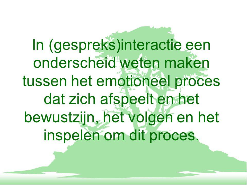 In (gespreks)interactie een onderscheid weten maken tussen het emotioneel proces dat zich afspeelt en het bewustzijn, het volgen en het inspelen om dit proces.