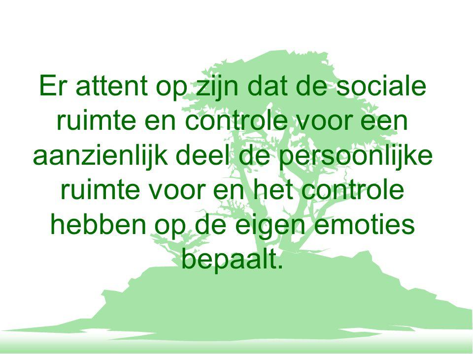 Er attent op zijn dat de sociale ruimte en controle voor een aanzienlijk deel de persoonlijke ruimte voor en het controle hebben op de eigen emoties bepaalt.