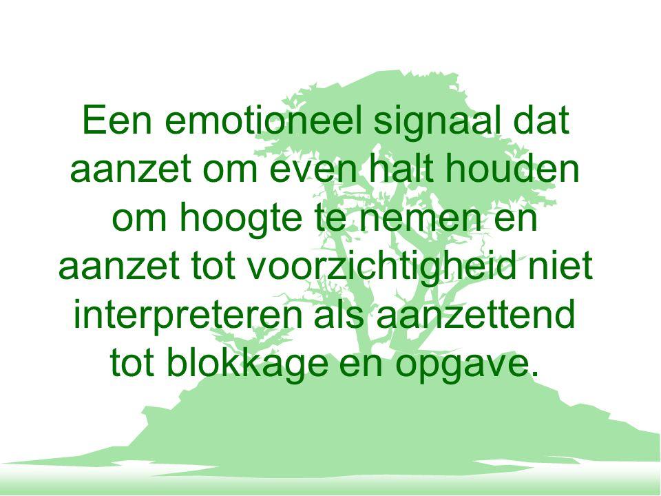 Een emotioneel signaal dat aanzet om even halt houden om hoogte te nemen en aanzet tot voorzichtigheid niet interpreteren als aanzettend tot blokkage en opgave.