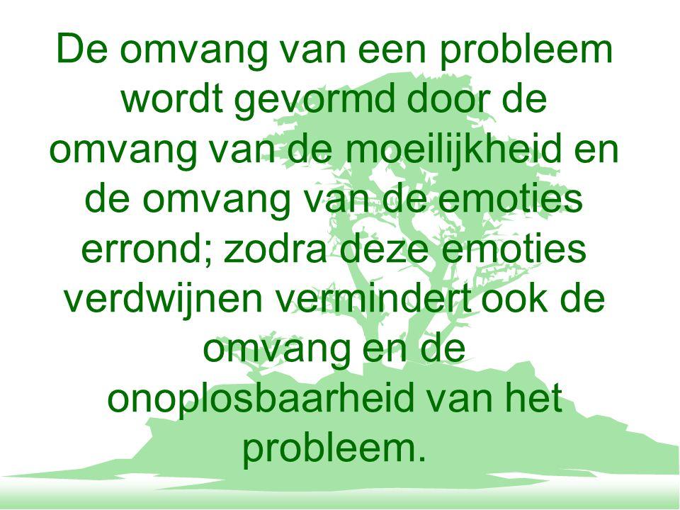 De omvang van een probleem wordt gevormd door de omvang van de moeilijkheid en de omvang van de emoties errond; zodra deze emoties verdwijnen vermindert ook de omvang en de onoplosbaarheid van het probleem.