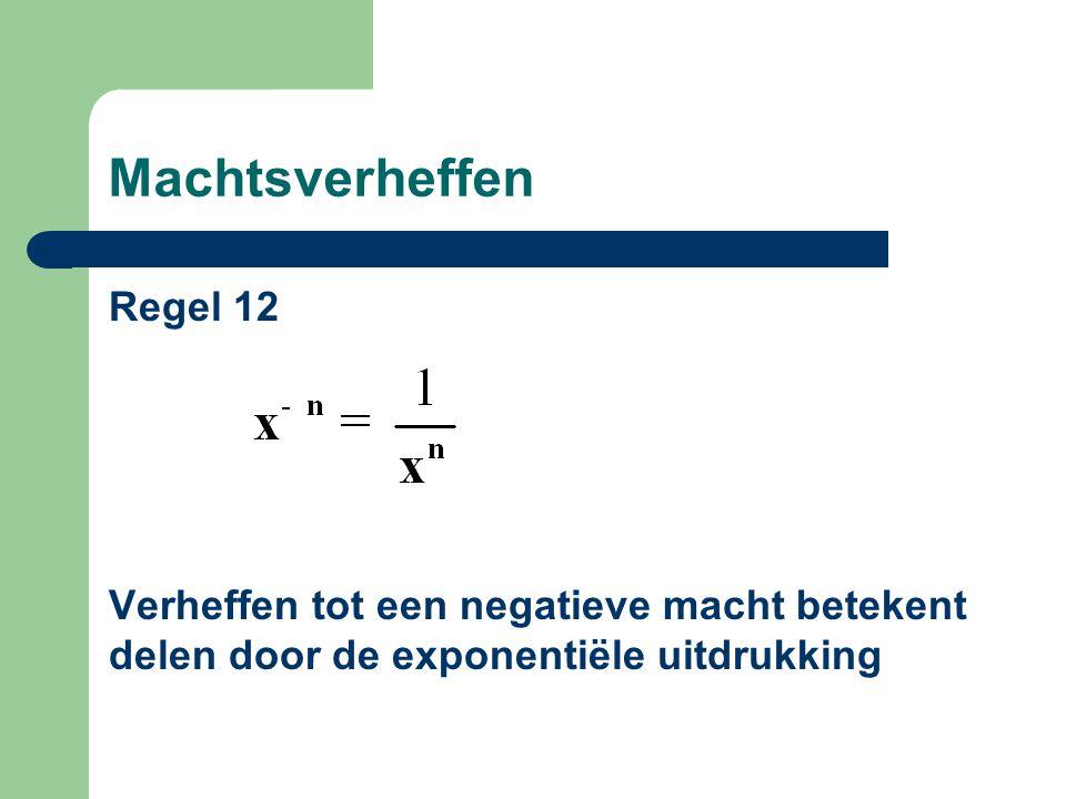 Machtsverheffen Regel 12 Verheffen tot een negatieve macht betekent delen door de exponentiële uitdrukking