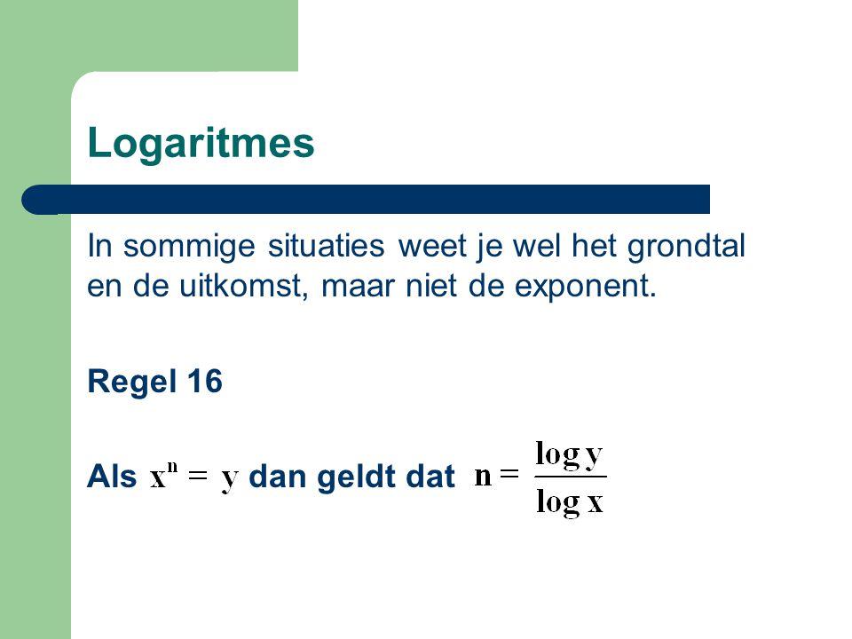 Logaritmes In sommige situaties weet je wel het grondtal en de uitkomst, maar niet de exponent.