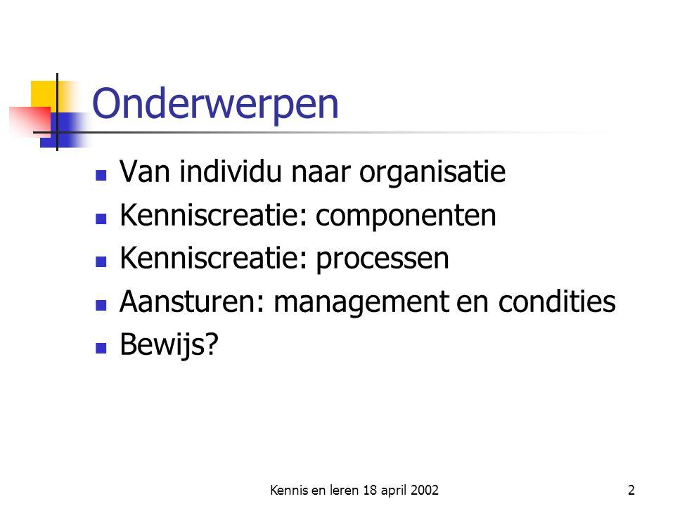 Onderwerpen Van individu naar organisatie Kenniscreatie: componenten
