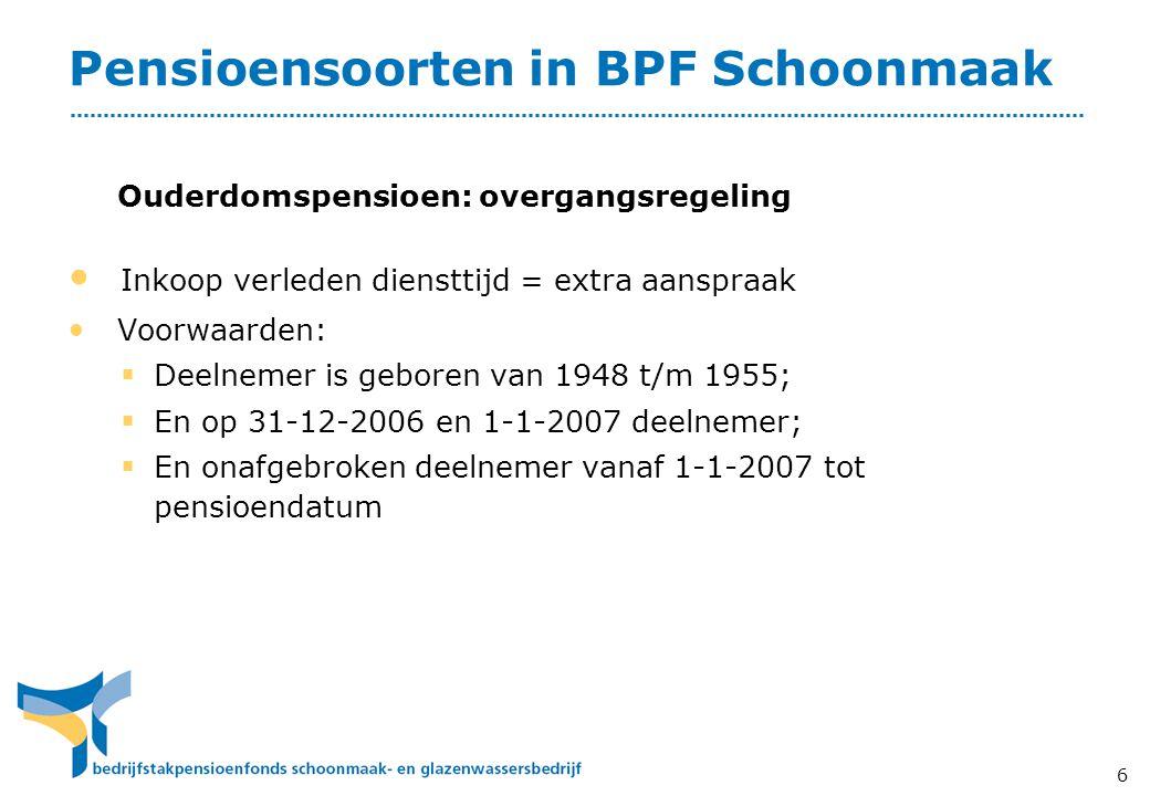 Pensioensoorten in BPF Schoonmaak