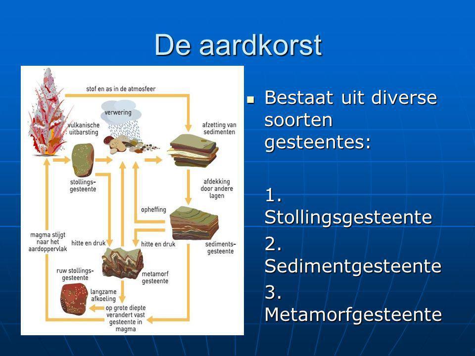 De aardkorst Bestaat uit diverse soorten gesteentes:
