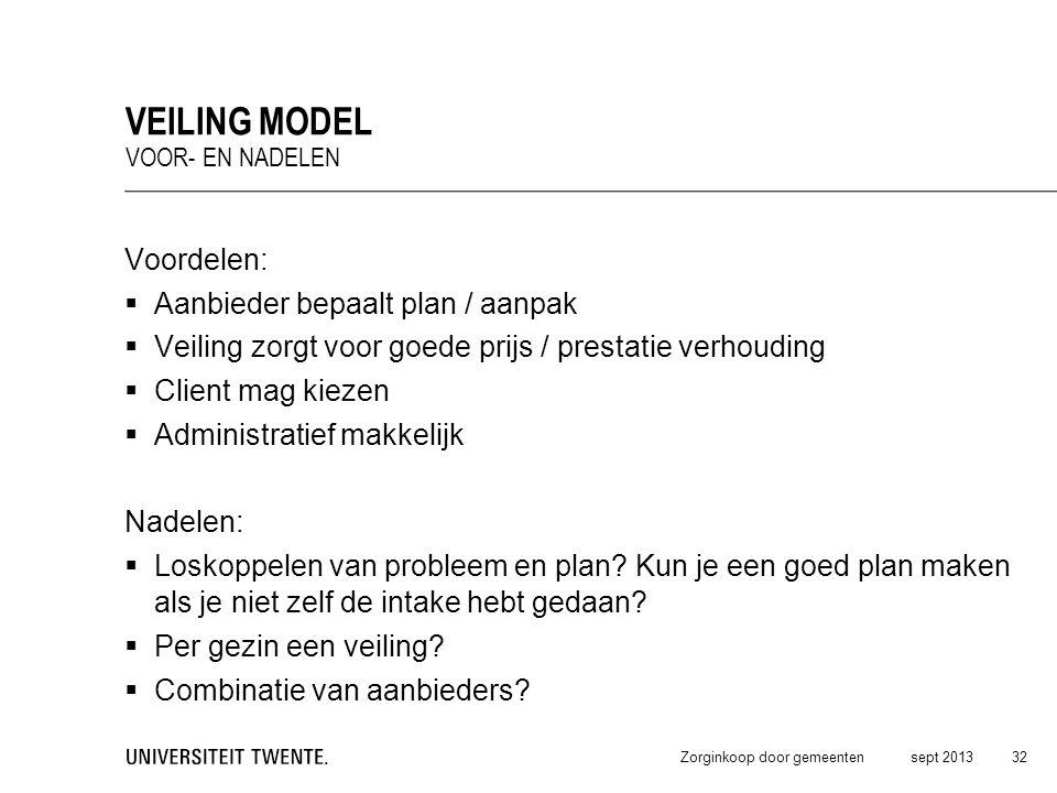 Veiling model Voordelen: Aanbieder bepaalt plan / aanpak