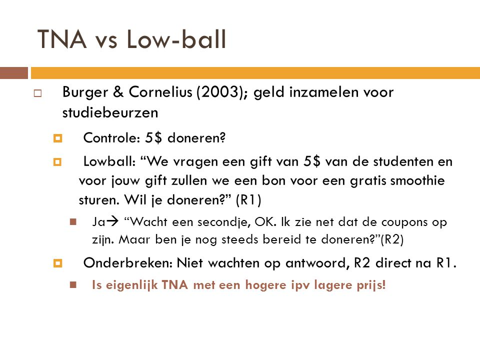 TNA vs Low-ball Burger & Cornelius (2003); geld inzamelen voor studiebeurzen. Controle: 5$ doneren