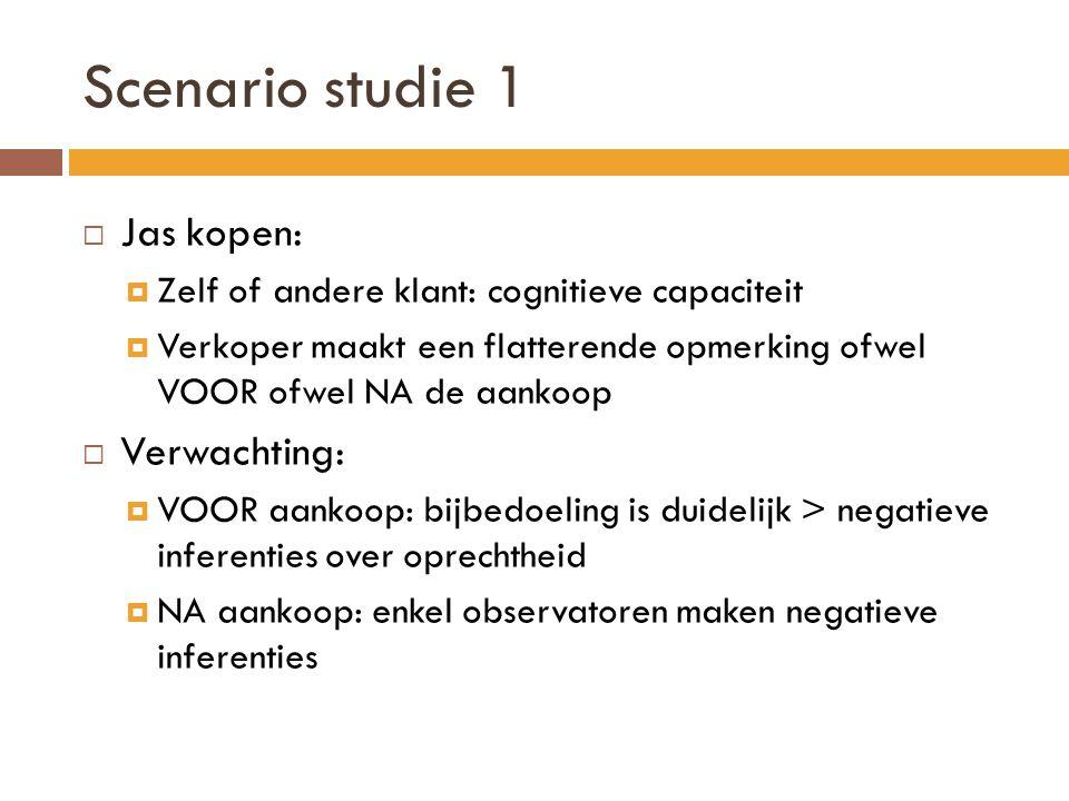 Scenario studie 1 Jas kopen: Verwachting: