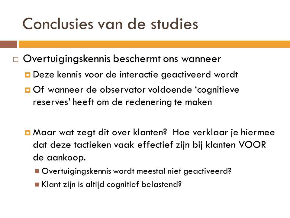 Conclusies van de studies