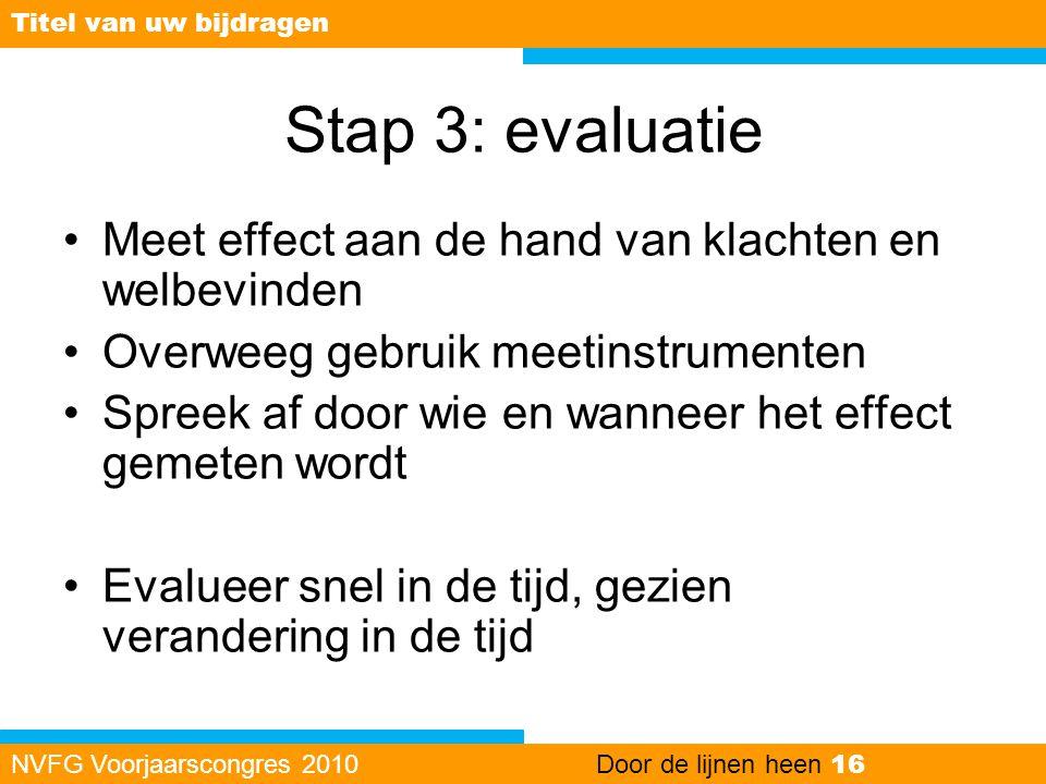 Stap 3: evaluatie Meet effect aan de hand van klachten en welbevinden