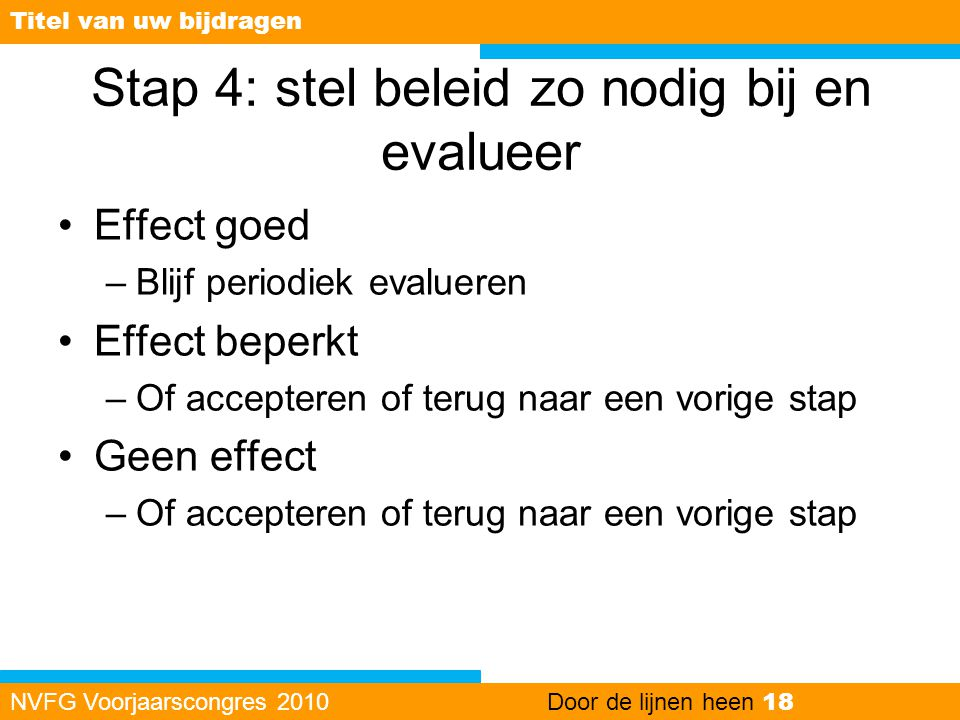 Stap 4: stel beleid zo nodig bij en evalueer