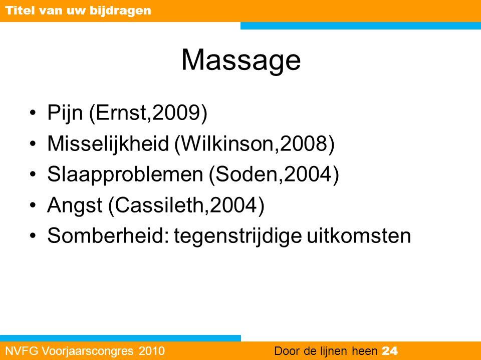 Massage Pijn (Ernst,2009) Misselijkheid (Wilkinson,2008)