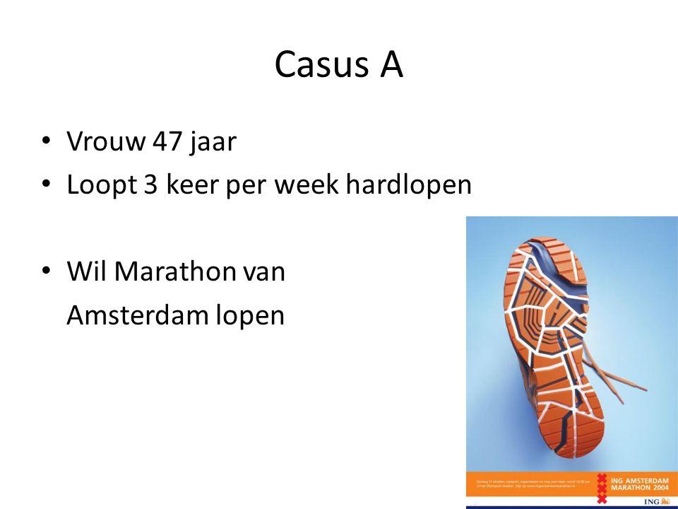 Casus A Vrouw 47 jaar Loopt 3 keer per week hardlopen Wil Marathon van