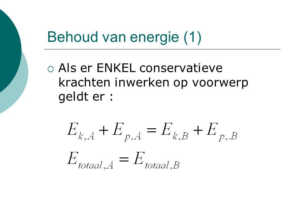 Behoud van energie (1) Als er ENKEL conservatieve krachten inwerken op voorwerp geldt er :