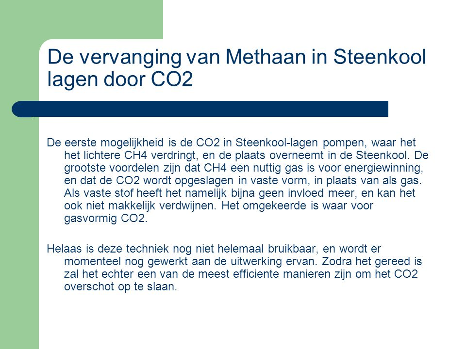 De vervanging van Methaan in Steenkool lagen door CO2