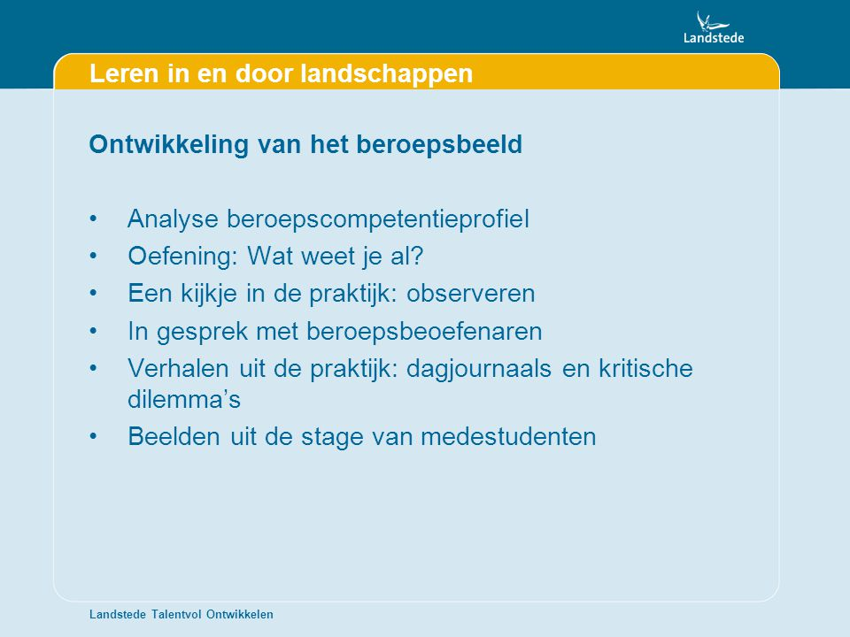 Leren in en door landschappen
