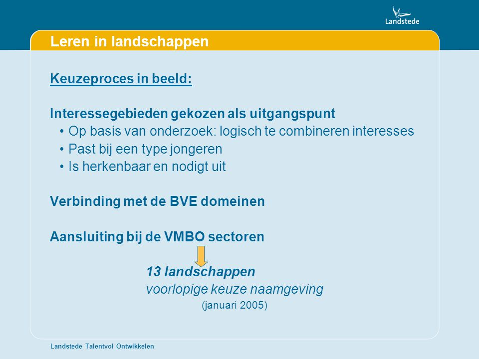 Leren in landschappen Keuzeproces in beeld: