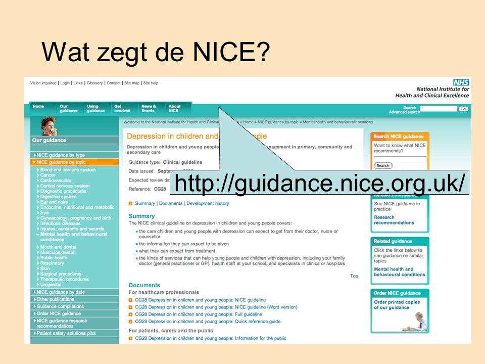Wat zegt de NICE http://guidance.nice.org.uk/