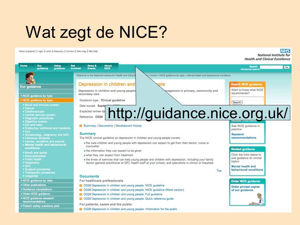 Wat zegt de NICE http://guidance.nice.org.uk/