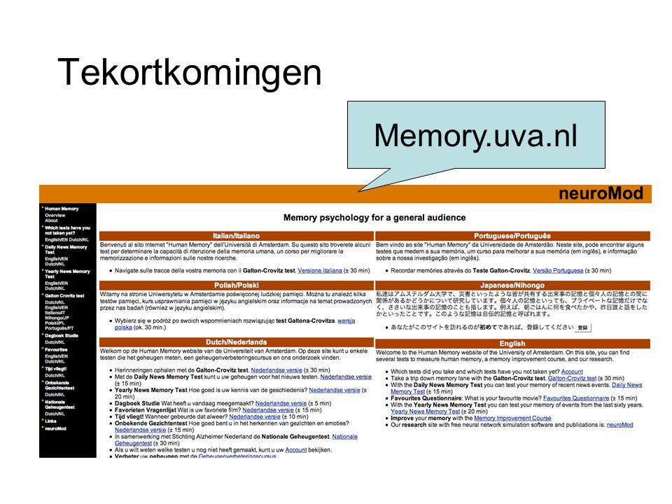 Tekortkomingen Memory.uva.nl