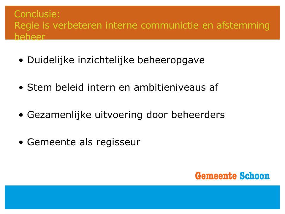 Conclusie: Regie is verbeteren interne communictie en afstemming beheer