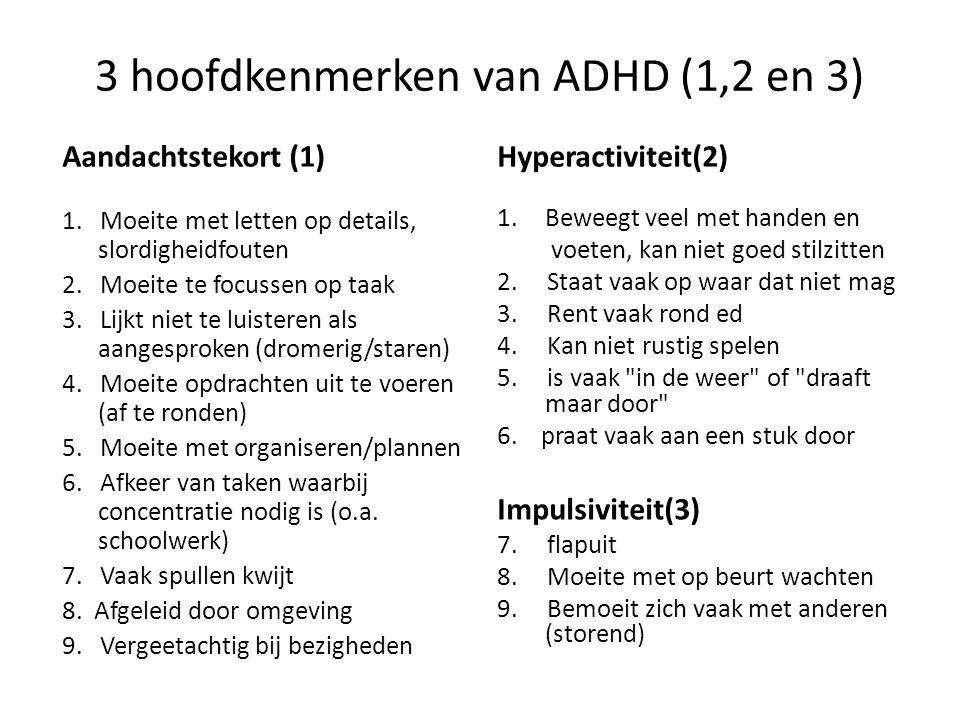 3 hoofdkenmerken van ADHD (1,2 en 3)