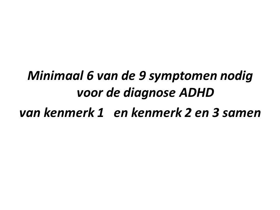 Minimaal 6 van de 9 symptomen nodig voor de diagnose ADHD