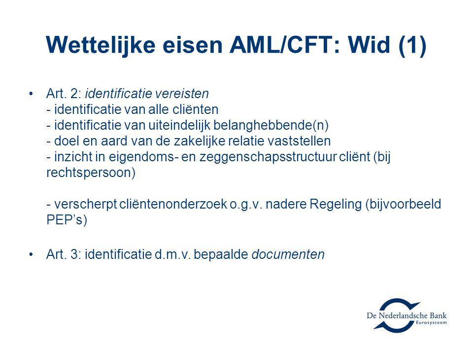 Wettelijke eisen AML/CFT: Wid (1)