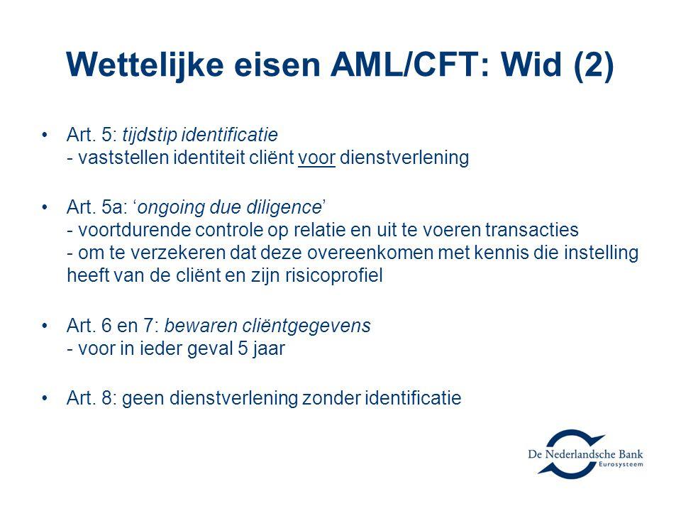 Wettelijke eisen AML/CFT: Wid (2)