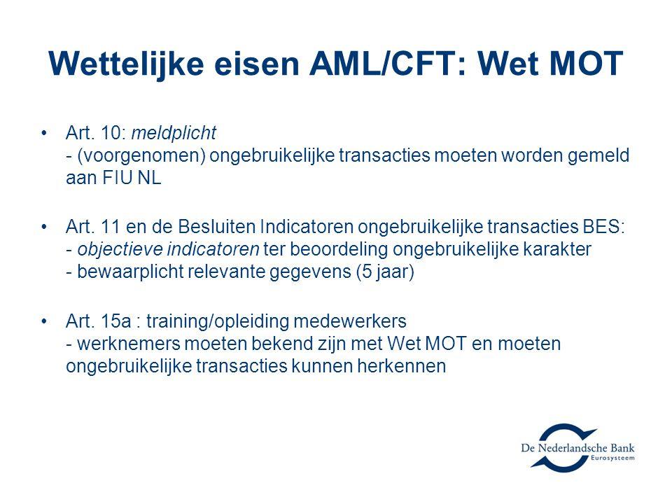 Wettelijke eisen AML/CFT: Wet MOT
