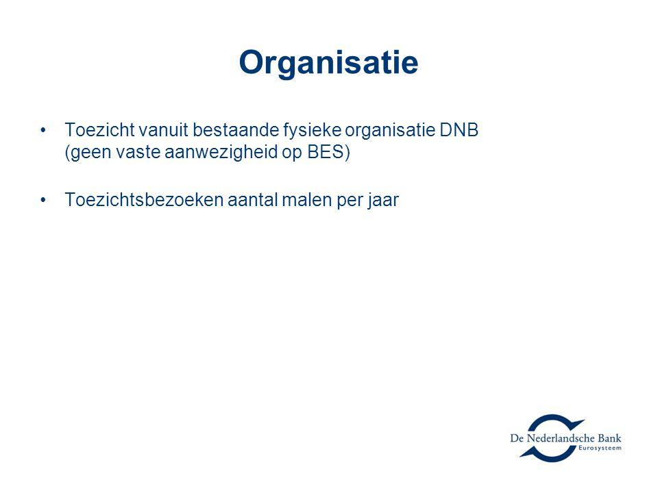 Organisatie Toezicht vanuit bestaande fysieke organisatie DNB (geen vaste aanwezigheid op BES) Toezichtsbezoeken aantal malen per jaar.