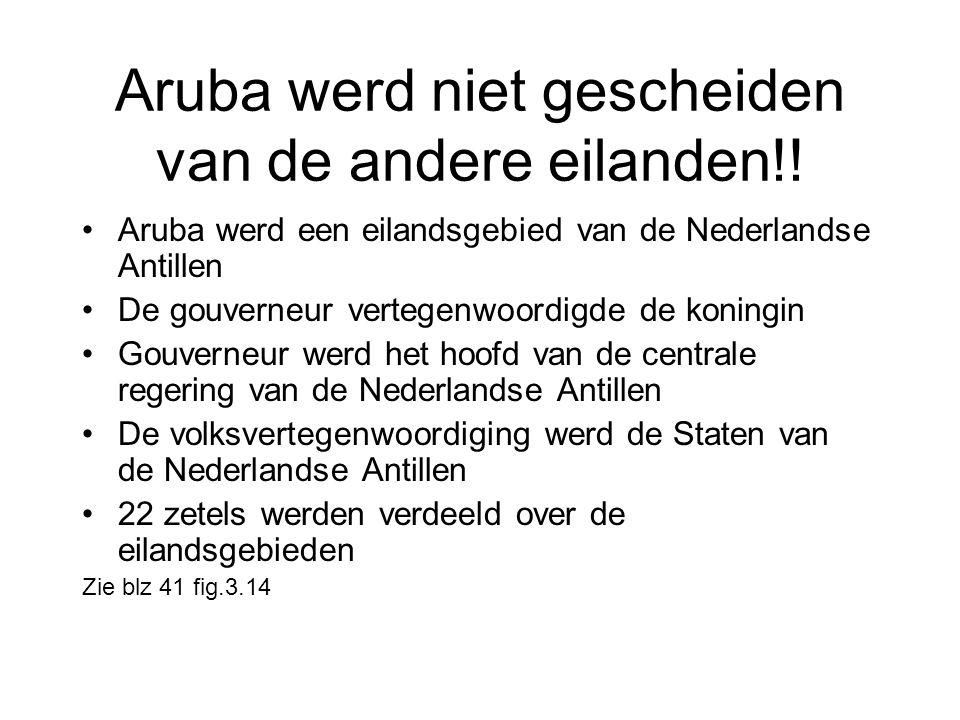 Aruba werd niet gescheiden van de andere eilanden!!
