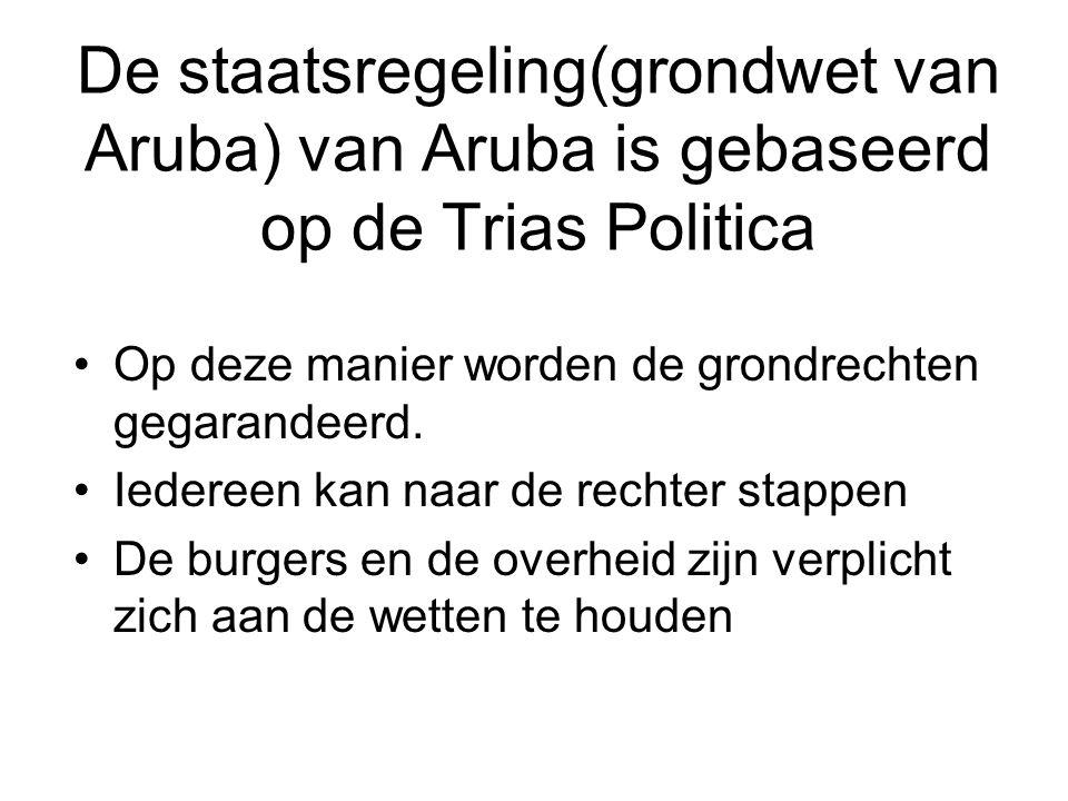De staatsregeling(grondwet van Aruba) van Aruba is gebaseerd op de Trias Politica