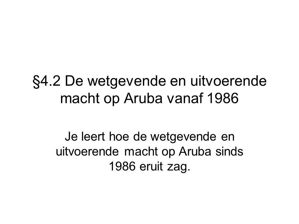 §4.2 De wetgevende en uitvoerende macht op Aruba vanaf 1986