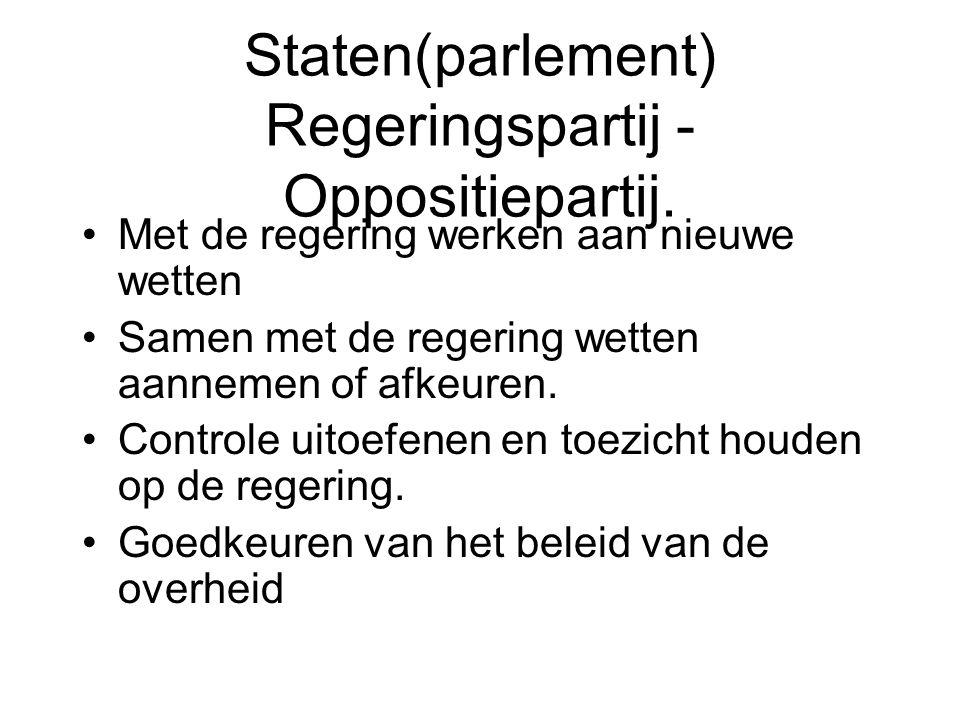 Staten(parlement) Regeringspartij - Oppositiepartij.