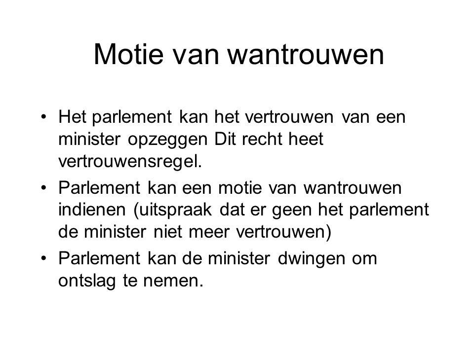 Motie van wantrouwen Het parlement kan het vertrouwen van een minister opzeggen Dit recht heet vertrouwensregel.