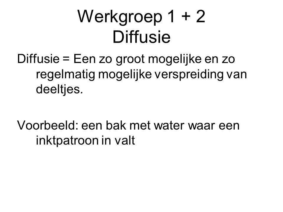 Werkgroep 1 + 2 Diffusie Diffusie = Een zo groot mogelijke en zo regelmatig mogelijke verspreiding van deeltjes.
