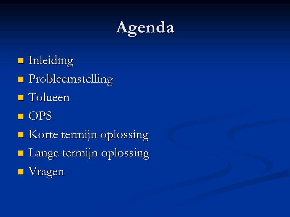 Agenda Inleiding Probleemstelling Tolueen OPS Korte termijn oplossing