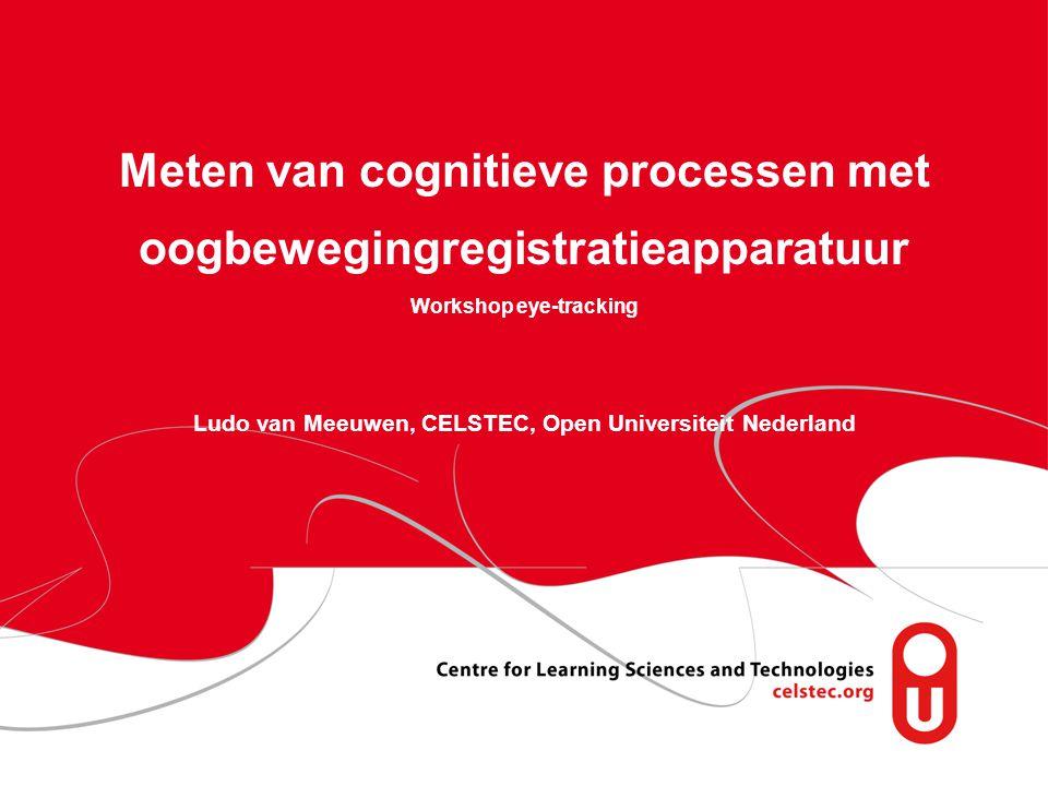 Meten van cognitieve processen met oogbewegingregistratieapparatuur Workshop eye-tracking Ludo van Meeuwen, CELSTEC, Open Universiteit Nederland