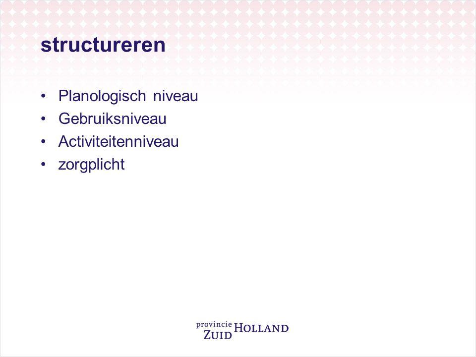 structureren Planologisch niveau Gebruiksniveau Activiteitenniveau