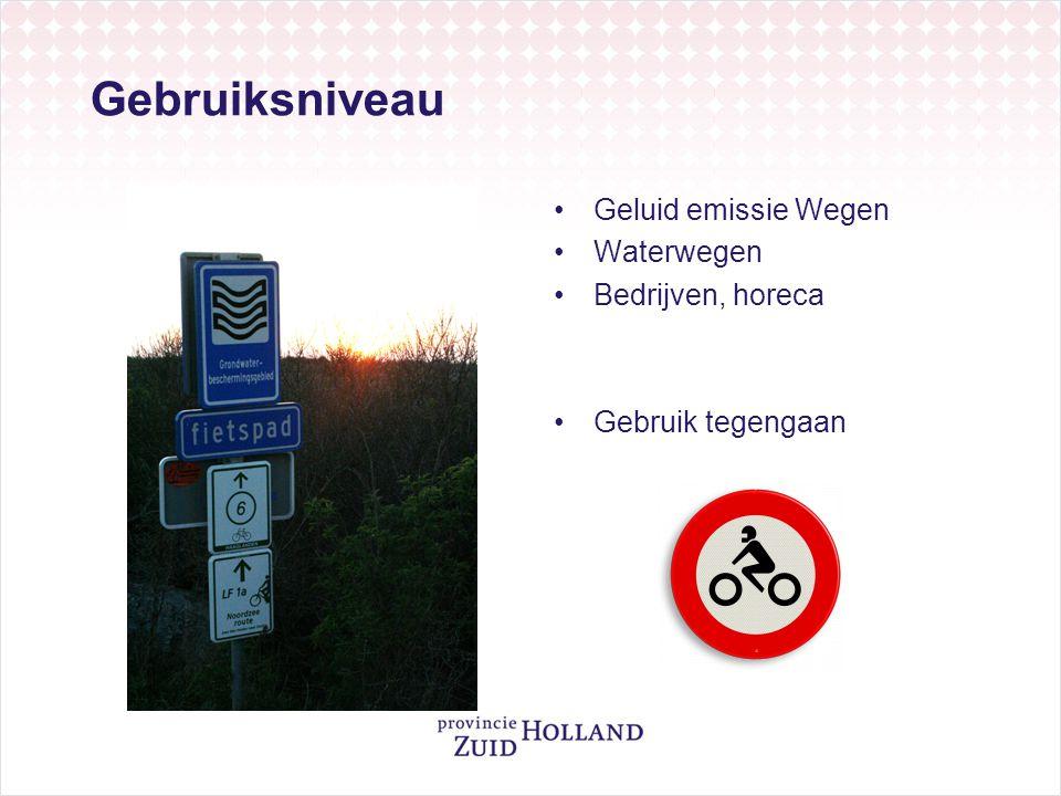 Gebruiksniveau Geluid emissie Wegen Waterwegen Bedrijven, horeca
