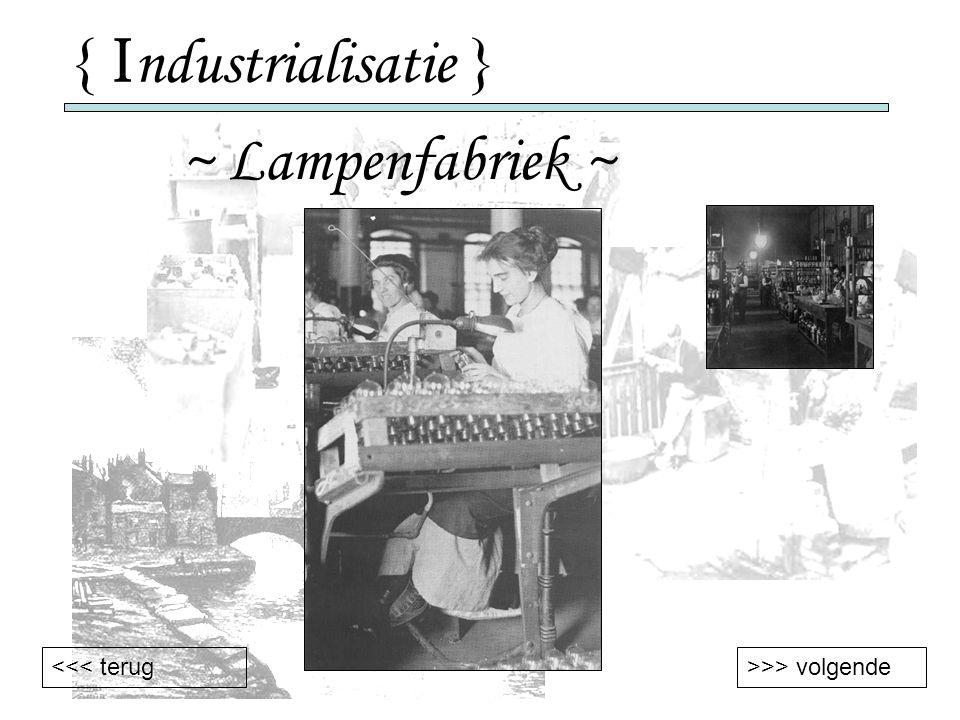 { Industrialisatie } ~ Lampenfabriek ~ <<< terug