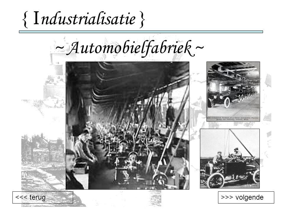 { Industrialisatie } ~ Automobielfabriek ~ <<< terug